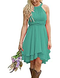 5460870224af Women s Knee Length Country Bridesmaid Dresses Western Wedding Guest  Dresses Short Maid of Honor Gown Green