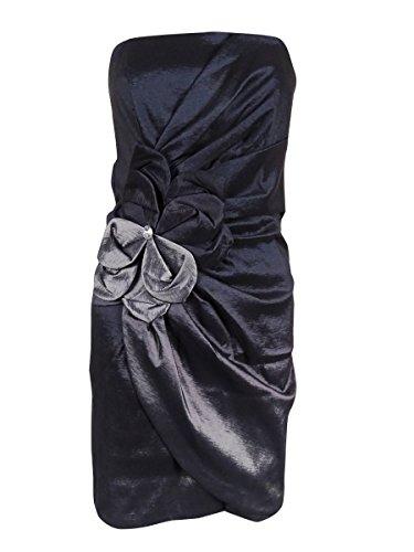 Embellished Appliqued (Xscape Women's Appliqued Embellished Strapless Taffeta Dress (10, Black Silver))