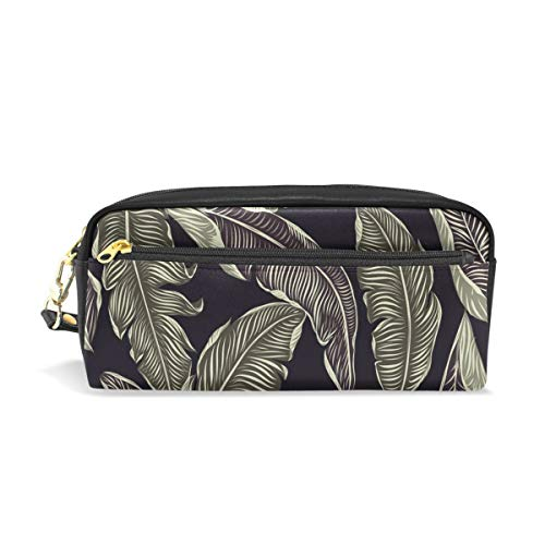 Pencil Case Stylish Print Jungle Leaves Tropical Pattern Design Illustration Art Pattern Large Capacity Pen Bag Makeup Pouch Durable Students Stationery Two Pockets with Double Zipper