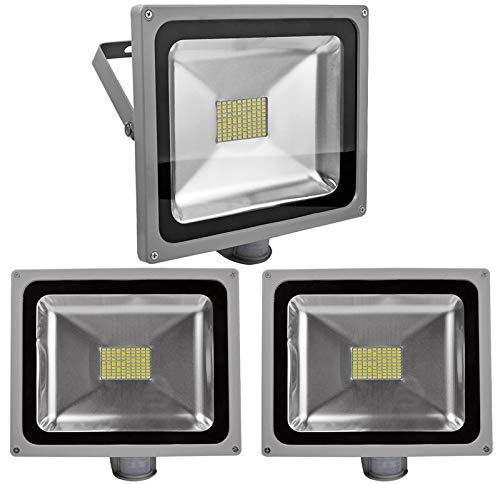 Leetop 3pcs 20W 30W 50W 80W Faretto a LED con Sensore di Movimento e Crepuscolare Faro Luce Bianca Fredda(80 Watts)