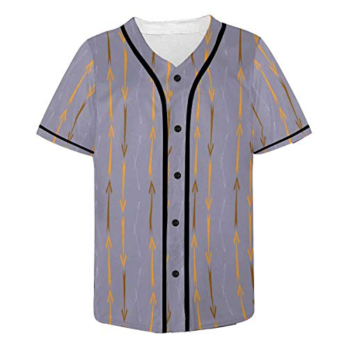 (INTERESTPRINT Men's Tribal Arrows Baseball Jersey T-Shirts Plain Button Down Sports Tee XL)