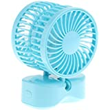 Jili Online Handheld Couple Cooling Fan Personal Battery Operated Cooler w/ LED Light - Blue