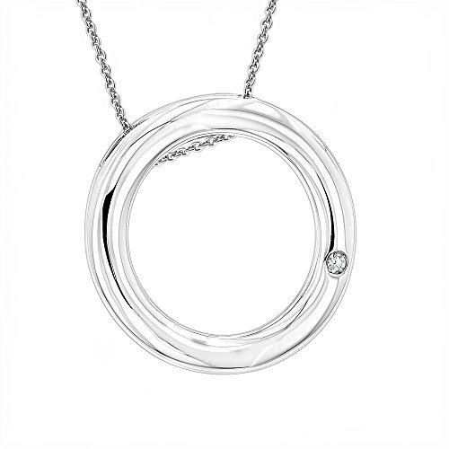 Ladies Diamond Circle Pendant in Sterling Silver Luxurman Love Quotes (0.01ct, H-I Color, SI-I Clarity)