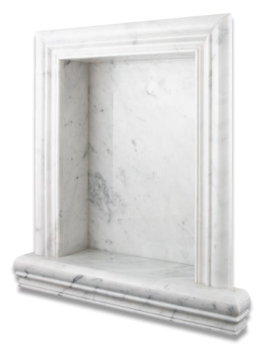 (Italian Carrara White Marble Hand-Made Polished Shampoo Niche / Shelf - LARGE)