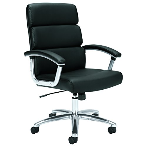 basyx by HON Executive Task Chair - Mid Back Leather Computer Chair for Office Desk, Black (VL103) by basyx by HON