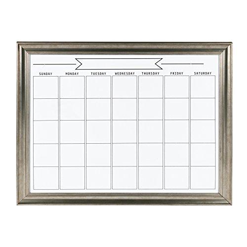 DesignOvation Macon Framed Magnetic Dry Erase Monthly Calendar, 23x29, Pewter (Frame Magnet Calendar)