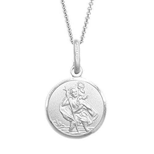 Sterling Silver St. Saint Christopher Medal 12x12 Mm Charm Pendant Necklace 20 Inches (Saint Charm Round Christopher)