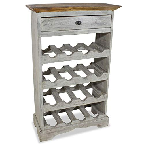 (Tidyard Vintage Wine Storage Cabinet, Antique Handmade Wine Rack Solid Reclaimed Wood 21.7