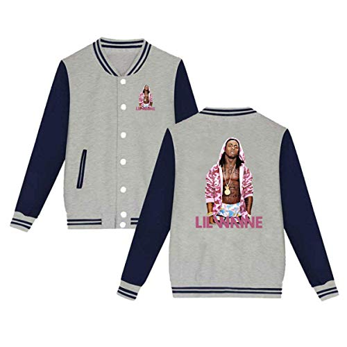 Baseball Uniform Jacket Sport Coat, Lil Tha Carter Wayne Cotton Sweater for Women Men Boy Girls Gray]()