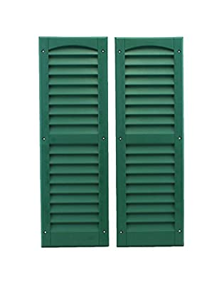 """Louvered Shed or Playhouse Shutters Green 9"""" X 27"""" 1 Pair"""