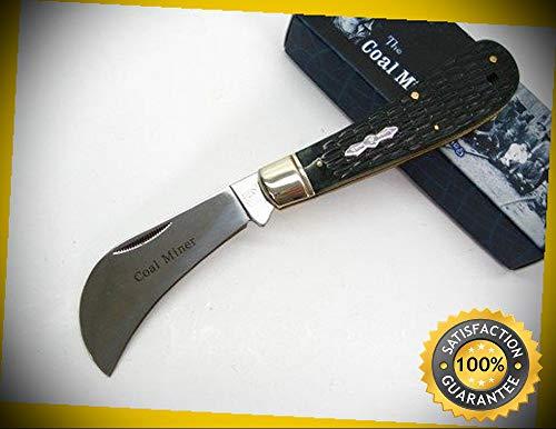 (Coal Miner Series Buffalo Horn Hawkbill Folding Pocket Sharp Knife 1143 perfect for outdoor camping hunting)