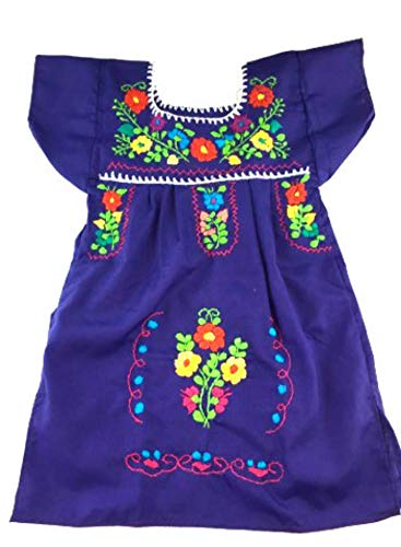 (Mexican Infant Dress Green Size 0 Tehuacan Dress Color Purple Day of The Dead Coco Theme Party Halloween)