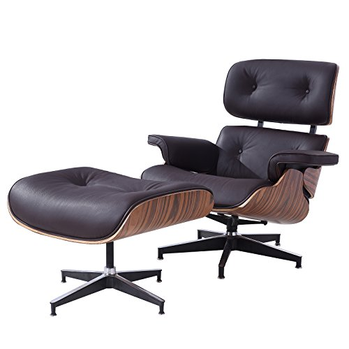 Mecor Lounge Chair with Ottoman Mid Century Palisander Wood 100% Grain Italian Leather&Heavy Duty Base Support for Living Room ()