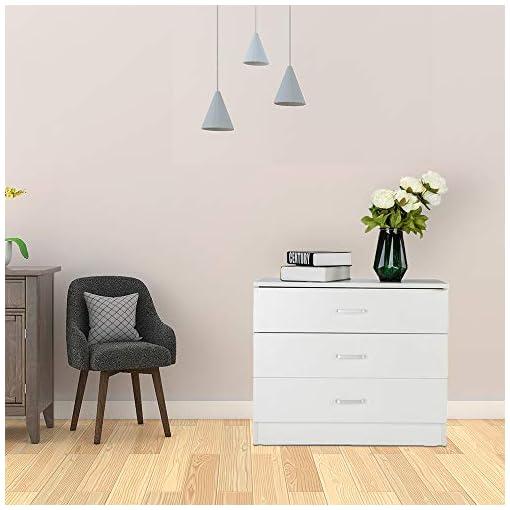 Bedroom Kcelarec 3 Drawer Dresser, Modern Chest Cabinet for Bedroom Hallway Living Room, White modern dressers