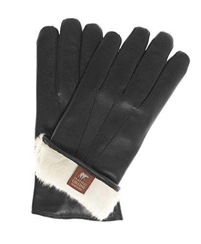 Fratelli Orsini Everyday Men's Our Bestselling Italian Rabbit Fur Gloves Size M Color Black (Leather Italian Glove)