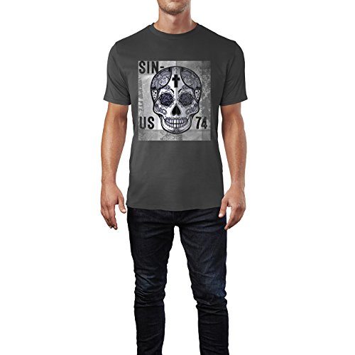 SINUS ART® Schwarzer mexikanischer Totenkopf Herren T-Shirts in Smoke Fun Shirt mit tollen Aufdruck