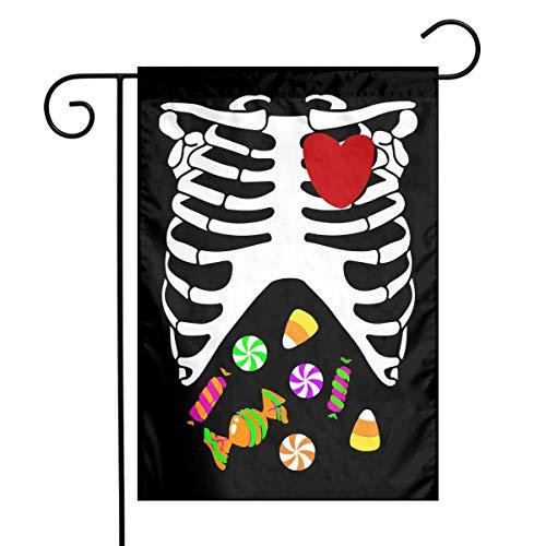 Heart of A Halloween Candy Skeleton Printed Outdoor/Indoor Garden Flag Holiday Garden Flag 12