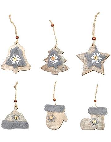 Fjiujin,6 UNIDS Nuevo Árbol de Navidad Estrella Campana Sombrero de Lana Sombrero, Guante
