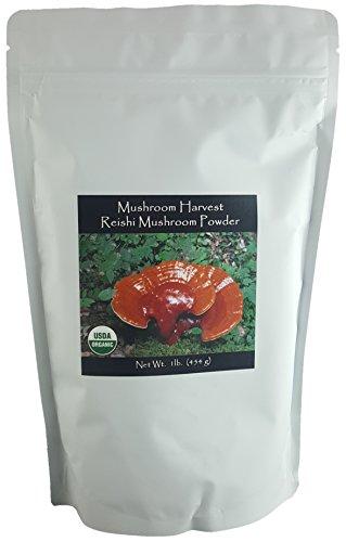 Reishi Full Spectrum Mushroom Powder by Mushroom Harvest | Certified Organic 1 lb. | Grown in USA | HIGHEST LEVEL OF PURITY AND POTENCY! (Full Spectrum Reishi Mushroom)