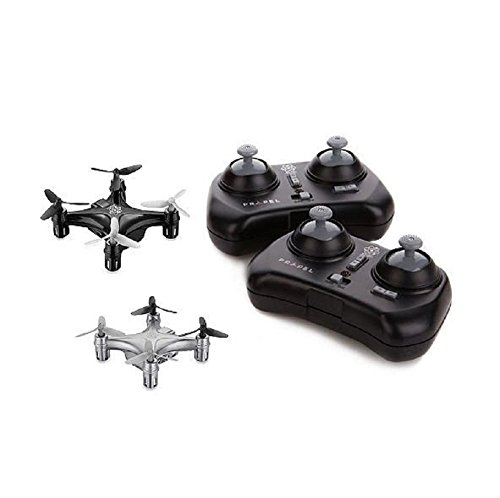 Propel RC Atom 1.0 Micro Drone Indoor/Outdoor Wireless Quadrocopter 2-Pack (Black/Silver)