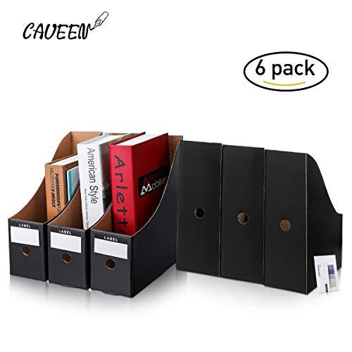 CAVEEN Magazine File Holder Organizer Box 6pcs Drawer Kraft Paper File Holder Office Supplies Desk Storage Organizer Documents File Box (Black)