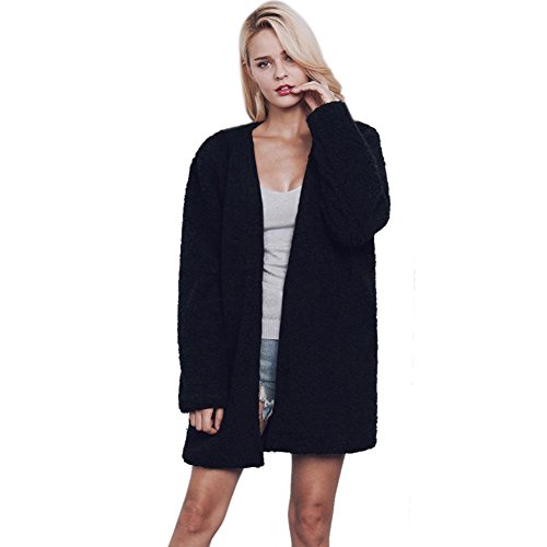 Doinshop Cardigan Coat Women Warm Faux Fur Long Sleeve Jacket Outerwear (M, Black)