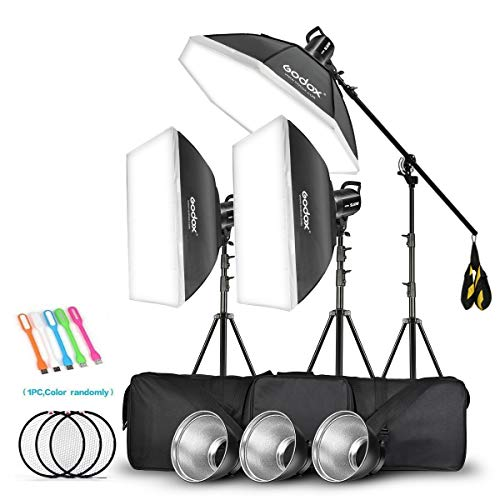 Godox 3 Pack SL-60W 180W CRI95+ White Continuous Output Lighting LED Video Light Bowens Mount Kit for YouTube,Video Shooting,Studio,Children Photography,Wedding/Softbox,Light Stand,Carrying Bag(110V)