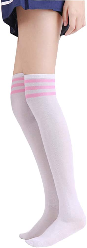 Three Pieces Dcola Womens Knee Socks New Japanese College Wind Black And White Striped Stockings Three Bars Over The Knee High Socks