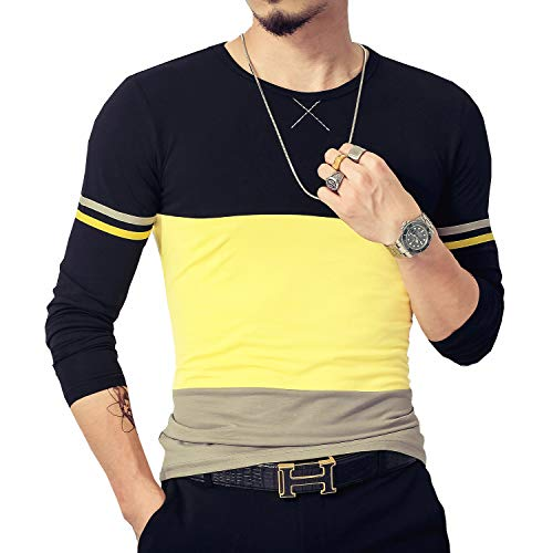 LOGEEYAR Mens Summer Fashion Fitted Tee Shirts Cotton Short-Sleeve Contrast Color Stitching T-Shirt