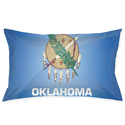 Flag of Oklahoma Printed Pillow Case Stain Resistant Decorative Throw Pillow Case with Hidden Zipper 18