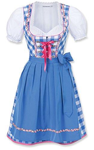 Stocker Point Vestido mini de tirolesa, diseño de cuadros, incluye delantal, tallas 32-44, color azul - Azul
