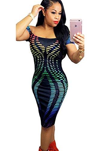 Frauen-Sexy aus der Schulter Colorblock figurbetontes Cocktailkleid