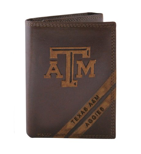 NCAA Texas A&M Aggies Zep-Pro Pull-Up Leather Trifold Embossed Wallet, ()