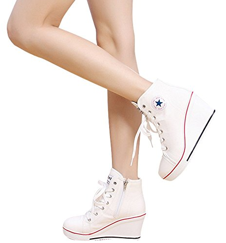 Chaussures Montante Casuel Toile Tennis Baskets Sneakers Femme Blanc Mode Compensées Wealsex WnCB8Yn