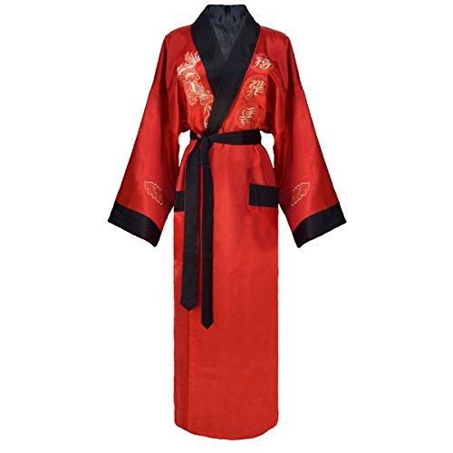Kimono rosso giapponese e reversibile vestaglia E per Rosso accappatoio Nero donne modello drago le nero rArqwzxE