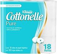 Kleenex Cottonelle Pure Papel Higiénico, Paquete con 18 rollos de 180 hojas dobles, Hipoalergénico con extract