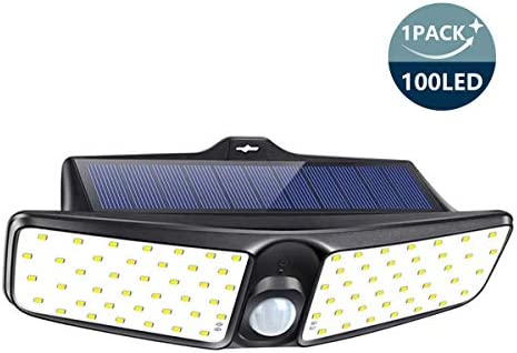 Solar Lights Outdoor, SONATA 100 LED Motion Sensor Security Lights 1 Pack , IP65 Waterproof Solar Powered Lights, Wireless Rechargeable Flood Lights with 270 Wide Angle for Front Door, Yard, Gar