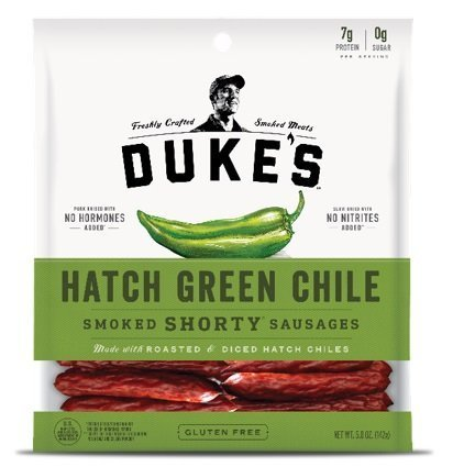 DUKE'S Hatch Green Chile Shorty Smoked Sausages, 5.0-ounce Bags (Pack of 2)