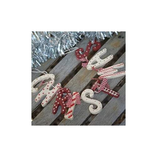 shabby christmas wooden red white vintage style decoration