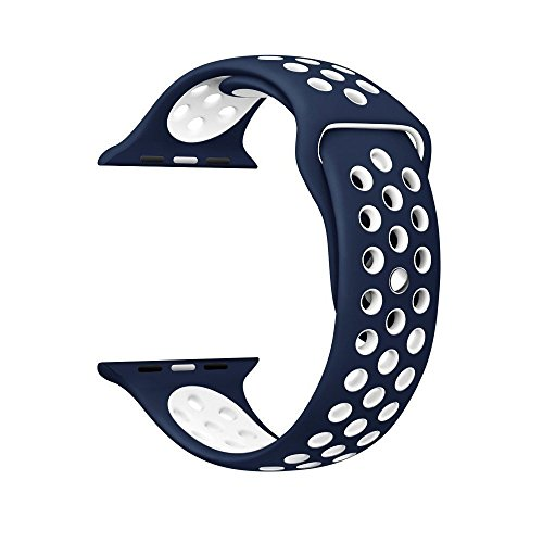 38mm Soft Silicone Quick Release Replacement Strap Smart Watch Band, Replacement for Apple Watch Band Series 1, 2, Edition, Sport (Blue) By Shanhai