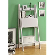 Monarch Specialties High Ladder Bookcase with Drop-Down Desk, 61-Inch, White