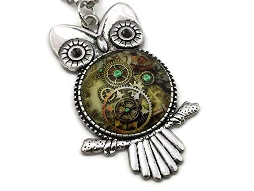 Steampunk Owl Necklace - Gears and Clocks - Handmade