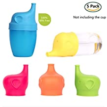 Silicone Sippy Cup Lids, DEWEL 5 pack elephant sippy cup lid spillproof and Leakproof for baby feeding toddlers