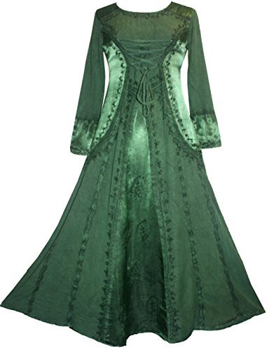 Agan Traders 430628 DR Vampire Renaissance Gothic Long Dress [Green; (Fancy Dress Vampire)