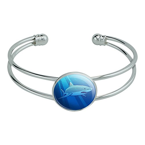 Great White Shark Realistic Novelty Silver Plated Metal Cuff Bangle Bracelet