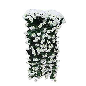 Artificial Violet Vine Silk Flower Garland Hanging Baskets Plants Home Outdoor Wedding Arch Garden Wall Decor,2Pcs,White 19