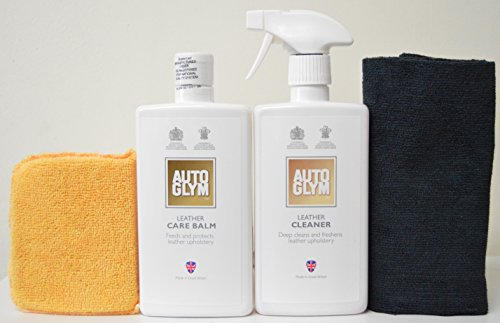 AutoGlym Leather Cleaner & Leather Care Balm Combo Care Pack with Free Edgeless Microfiber & Microfiber Applicator