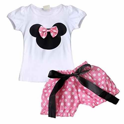 iEFiEL Baby Girls Cute Bow Shorts Pants Skirt Set Birthday Summer Outfit Hot Pink 3-6 (Pink Ribbon Cotton Shorts)