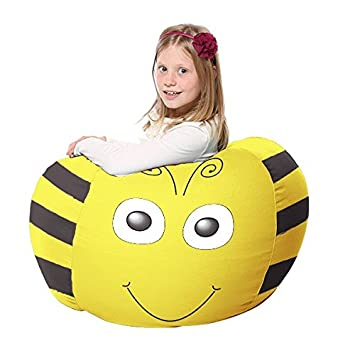 Fabulous Rucomfy Kids Bean Bag Fabric Berty The Bee Small Yellow Forskolin Free Trial Chair Design Images Forskolin Free Trialorg