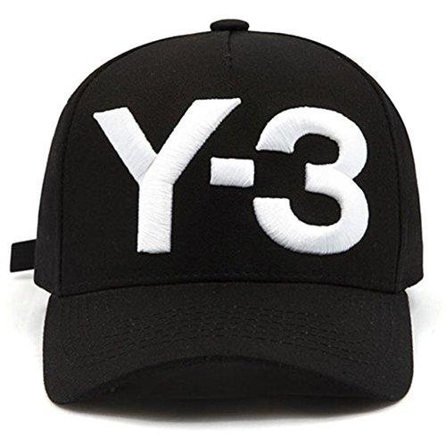 IreDi New Y-3 Dad Hat Big Bold Embroidered Logo Hip Hop Baseball Cap Black